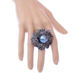 Blue Large Faux Pearl Floral Adjustable Ring