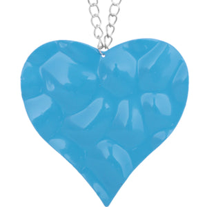 Blue Large Hammered Heart Chain Necklace