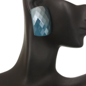 Blue Large Faceted Post Earrings