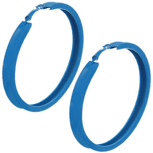 Blue Large Metal Hoop Earrings