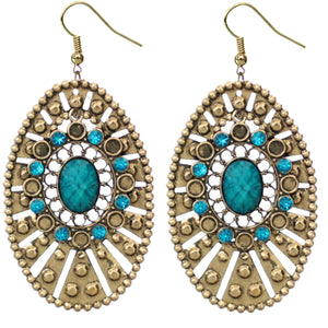 Blue Large Round Studded Dangle Earrings