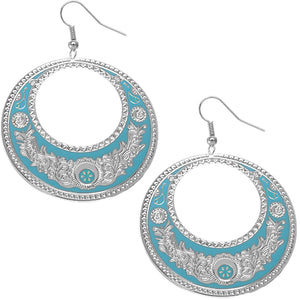 Blue Large Texture Design Hoop Earrings