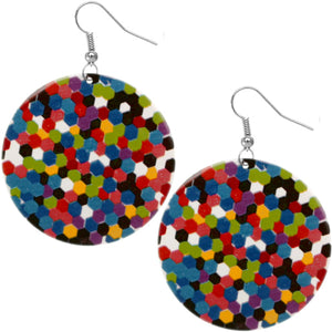 Multicolor Spotted Hexagon Earrings