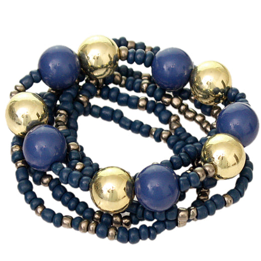 Blue Multi Line Beaded Stretch Bracelet Set