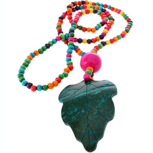 Teal Multicolor Wooden Beaded Leaf Charm Necklace