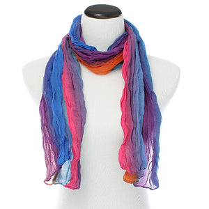 Pink Multicolor Lightweight Crinkle Wrap Scarf