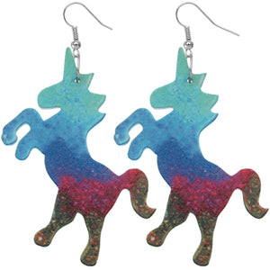 Blue Multicolor Wooden Standing Unicorn Earrings