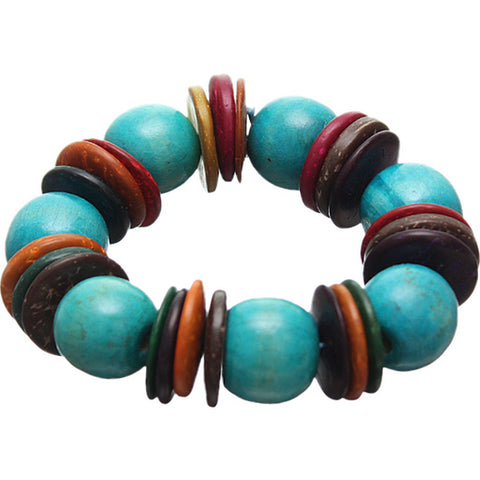 Blue Multicolor Wooden Bead Stretch Bracelet