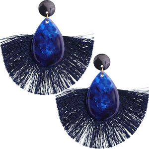 Blue Oval Fan Tassel Earrings