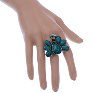 Blue Large Beaded Peacock Adjustable Ring