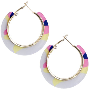 Pink Acrylic Camo Mini Hoop Earrings