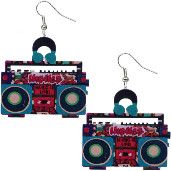 Pink Blue Hiphop Radio Boombox Earrings