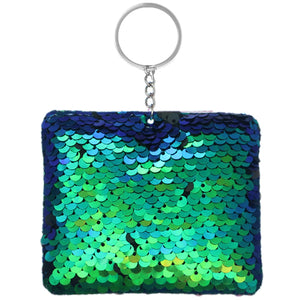 Green Blue Plush Sequin Keychain