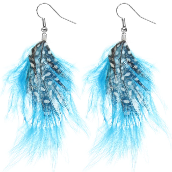 Blue Flowy Feather Earrings