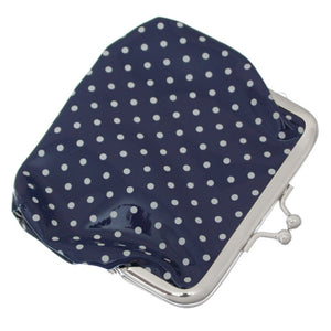 Navy Blue Polka Dot Kisslock Coin Purse Wallet