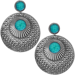 Blue Large Beaded Thin Disc Earrings
