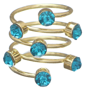 Blue Rhinestone Coil Wrap Ring