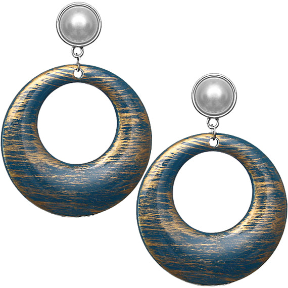 Blue Brush Textured Circle Clip-On Earrings