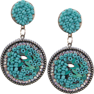 Blue Seed Bead Round Flat Disc Earrings