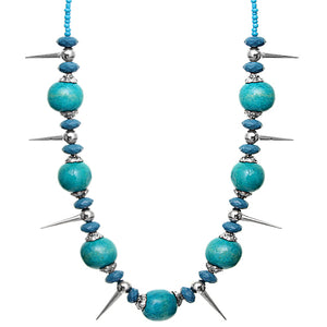 Blue Wooden Sequin Spike Necklace Set