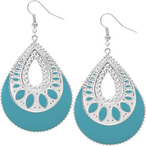 Light Blue Open Teardrop Earrings
