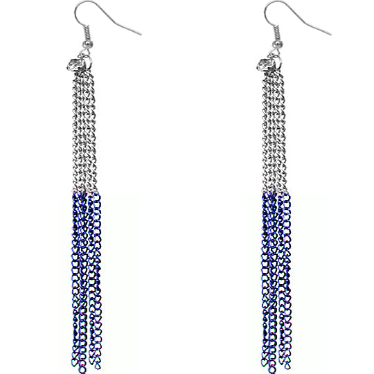 Blue Silver Long Drop Chain Dangle Earrings