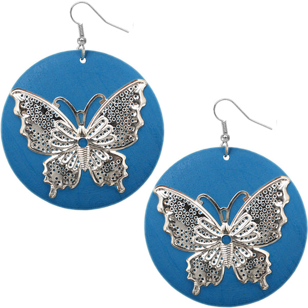 Blue Silver Wooden Butterfly Dangle Earrings