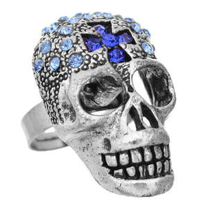 Blue Rhinestone Skull Cross Adjustable Ring