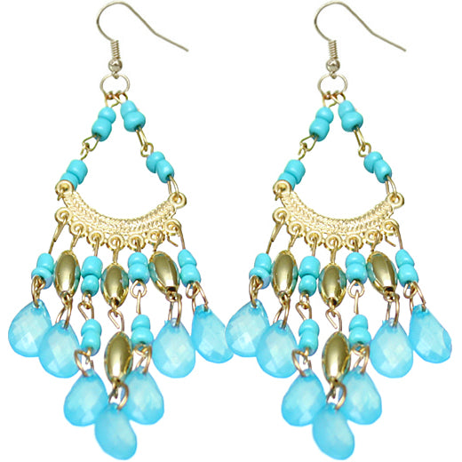 Blue spanish latin beaded earrings