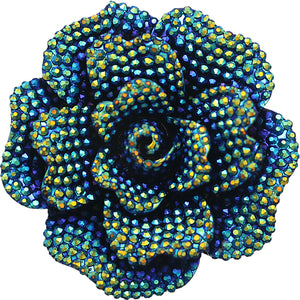 Blue Green Large Sparkle Flower Stretch Ring
