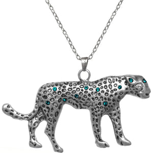 Blue Spotted Cheetah Charm Necklace