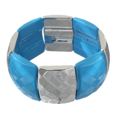 Blue Two Tone Square Stretch Bracelet