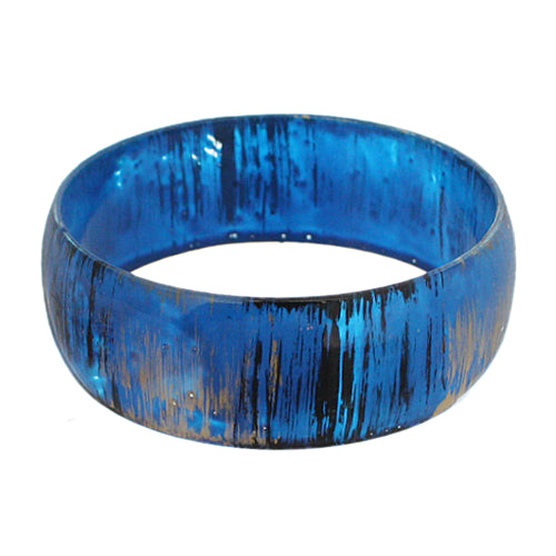 Blue Glossy Textured Bangle Bracelet