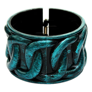 Blue Textured Chain Design Hinged Bracelet