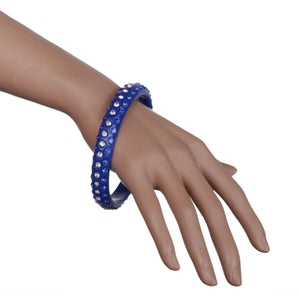 Blue Triple Row Rhinestone Bangle Bracelet