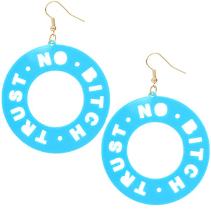 Blue Trust No Bitch Round Cutout Letter Earrings