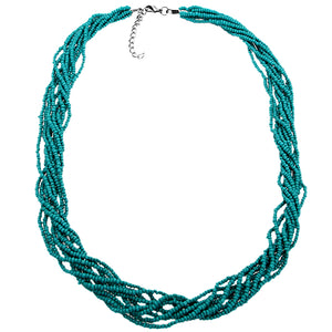 Blue Intertwined Sequin Beaded Necklace