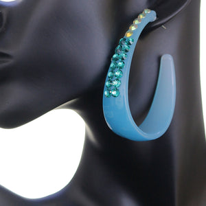 Blue Two Tone Rhinestone Hoop Earrings
