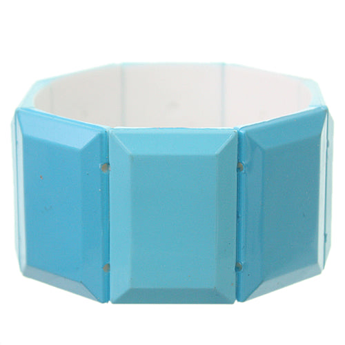 Blue Square Two Tone Stretch Bracelet
