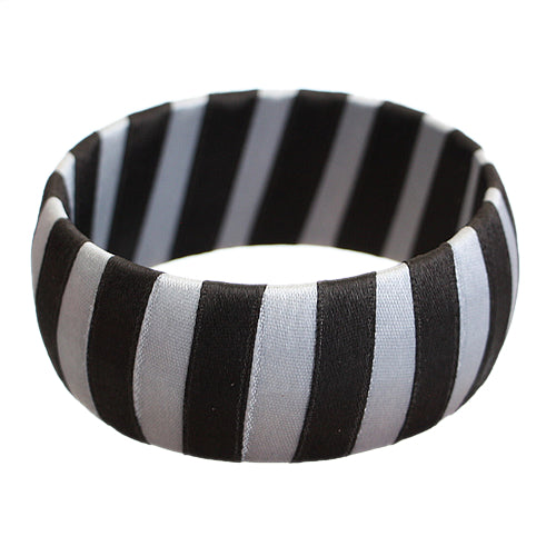 Black Two Tone Wrapped Bangle Bracelet