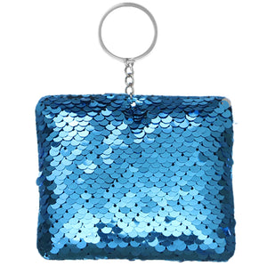 Blue Plush Sequin Keychain