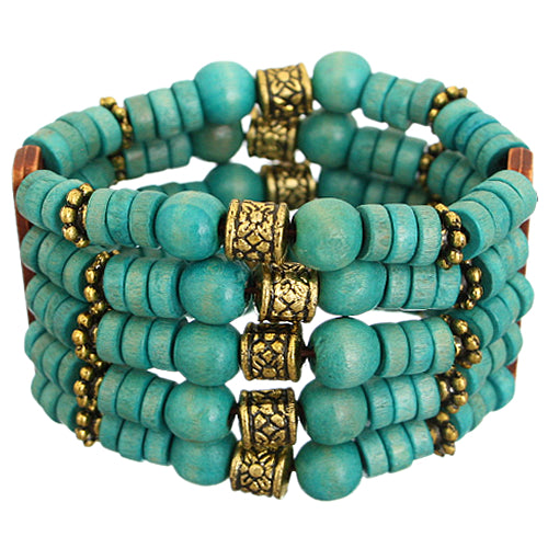 Teal Blue Wooden Beaded Stretch Bracelet