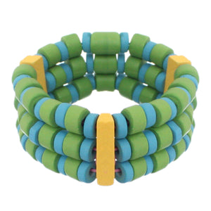Blue Green Wooden Beaded Stretch Bracelet