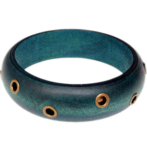 Blue Wooden Cutout Bangle Bracelet