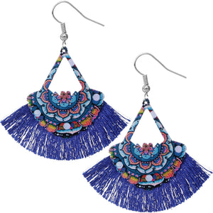 Blue Wooden Artsy Tassel Fan Dangle Earrings