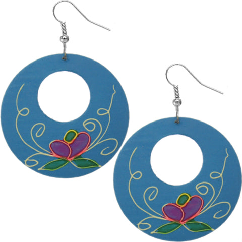 Blue Wooden Hand Painted Floral Earrings