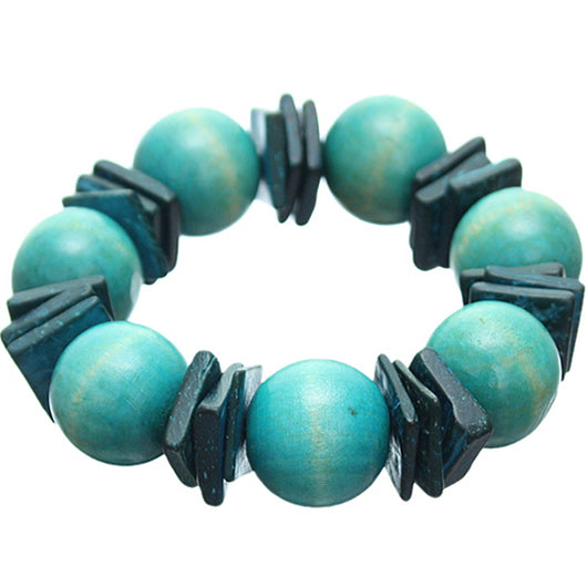 Blue Round Wooden Bead Stretch Bracelet