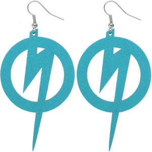 Blue Wooden Round Lightning Thunderbolt Earrings