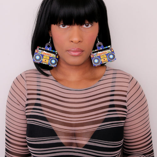 Blue Yellow Hiphop Radio Boombox Earrings