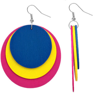 Blue Pink Layered Wooden Dangle Earrings